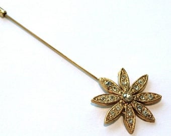 1960s Rhinestone Flower Stick Pin // 50s 60s  Vintage Stickpin // NOS // Rhinestones // Spring