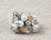 OUT OF TOWN - Chic Beaded Cluster Adjustable Ring - White Faux Pearl Clear Crystal Soft Peach Pink Silver Fun Cocktail Bauble Ring