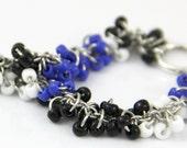 OUT OF TOWN - Classic Blue Cluster Bracelet - Beaded Striped Bracelet - Black White Royal Blue Cobalt Modern Playful Fun Colorblock Bracelet