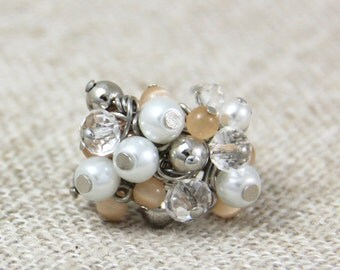 Chic Beaded Cluster Adjustable Ring - White Faux Pearl Clear Crystal Soft Peach Pink Silver Fun Cocktail Bauble Ring
