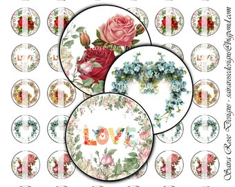 Digital Download Collage Sheet - 1 Inch Circles - Vintage Flowers Themed Printable Images