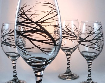 Hand Painted Tree Branch Wine Glasses, set of 4
