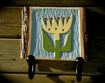 Clearance!  Wood Coat Rack, Nursery hooks, hand carved coat rack, Tulip coat rack, entryway coat hooks, small space coat rack, scandinavian