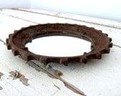 Vintage Industrial Gear Framed Mirror