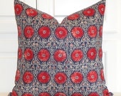 DURALEE - Decorative Pillow Cover - Floral Suzani in Red and Navy - Accent Pillow - Euro Sham - Linen Pillow