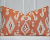 SET Of TWO - IKAT - 12 x 20 - Decorative Pillow Cover - Throw Pillow - Accent Pillow - Orange - Ivory