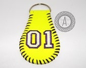 SALE--Real Softball Keychain Personalized Custom Embroidered