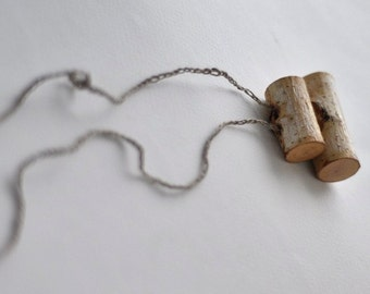 natural birch wood necklace