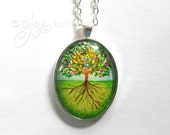 Art Pendant, Tree of Life, pendnat with necklace, original acrylic painting under glass, mini art, NOT A PRINT