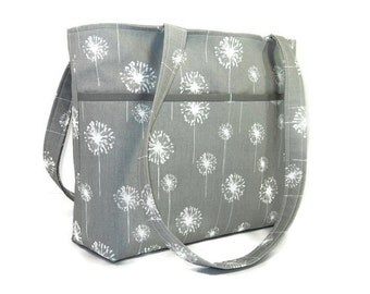 Double Strap Shoulder Tote Purse, Gray Dandelion Bag, Gray White Pocketbook, Fabric Handbag, Shoulder Bag, Medium Gray Purse, Key Clip