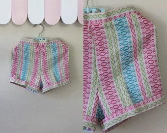 vintage 1960s girl's shorts - ATOMIC BUBBLES woven cotton shorts / 4T