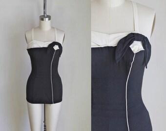vintage 1950s swimsuit - ROSE MARIE REID black & cream bathing suit  / S