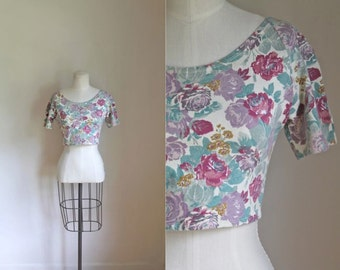 75% OFF... last call // vintage 80s crop top - BLOOMING floral cotton tee / S/M