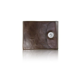 Mens BIFOLD wallet - slim SLOWDESIGN leather wallet - - DARKBROWN