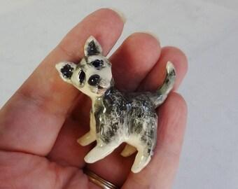 Husky Puppy Miniature - Ceramic Figurine - Dog Miniature - Puppy Figurine - Pottery Puppy  - Husky Puppy  Figurine  - Ceramic Animal