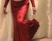 Bellydance trumpet skirt, mermaid skirt set in crimson red velvet  MED-LAR