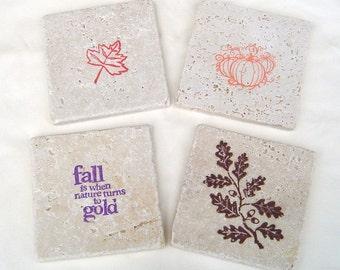 Handmade natural fall stone coasters, rustic fall home decor, set of 4 tile coasters, Autumn party decor, pumpkin coaster, leaf coaster