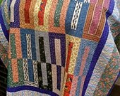 """Bright and Cheerful Twin Size Quilt / Lap Quilt - Sofa Throw - Lap Blanket - 57"""" wide x 82"""" long"""