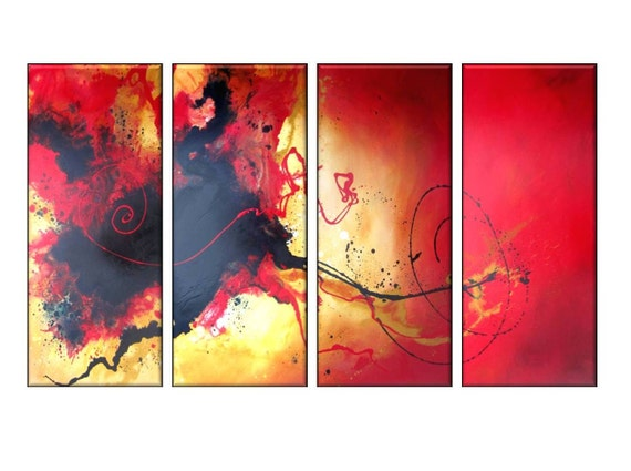 "Red Black Original Handpainted Modern Abstract Art Statement Painting. Large four panel 60"" set."