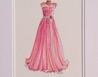 Fashion illustration, Dress Painting, Fashion Drawing, pink and orange, Evening Gown, Vintage Dress.