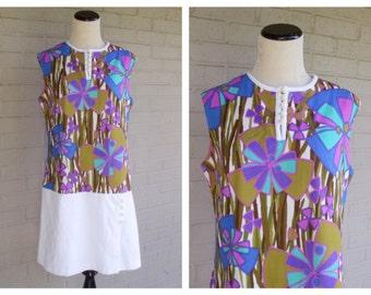 Vintage 1960's Purple White Floral Romper Dress Skort Mod Mini Polyester Size Large L