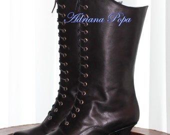 Victorian Boots in Black Leather Victorian Style Heeled Black Boots Ankle boots Order your Customized boots