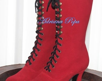 RED Victorian Boots Bright Red Ankle Boots Wedding Red boots Ankle Lace up boots Red suede leather Craftmanship shoes