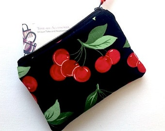 Cherries Zipper Pouch/Change Purse/Small Gadget Case/Coin Purse/Card Case/Padded Cosmetic Bag/Small Wallet/Clutch/Red Cherries on Black