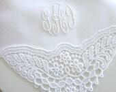 Wedding Handkerchief:  White German Plauen Lace Handkerchief with 3 Initial Monogram
