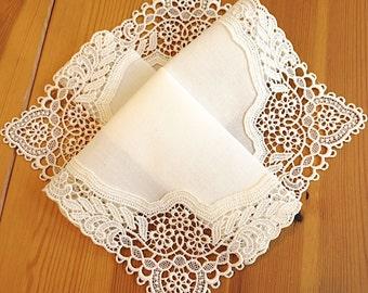 Bridal Accessories: Wedding Handkerchief, Cream Color German Plauen Lace Handkerchief Style No. 40736 with Classic 3-Initial Monogram