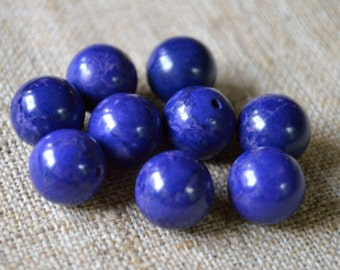 28pcs 14mm Lapis Blue  Natural Gemstone Beads Mountain Jade Round 16 In Strands
