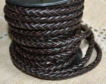 1 meter of 4mm Dark Brown Natural Braided Bolo Leather Cord Round