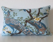 Dwell Studio Vintage Plumes Jade Peacock decorative pillow cover