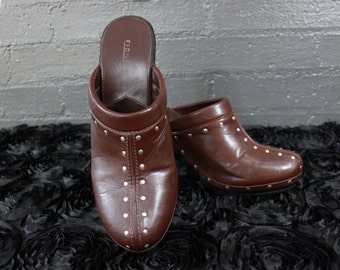 SALE Vintage 90s Brown Leather Studded Clogs Shoes Womens 11 By Fioni