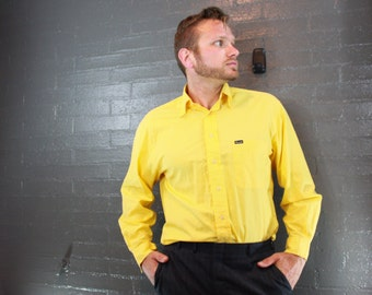 Vintage Yellow Button Down Mens Dress Shirt by Faconnable