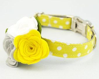 Dog Flower Collar - Yellow Polka Dot
