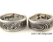 Personalized Finger Print Wedding Ring Set in Sterling Silver with Free Engraved Handwriting