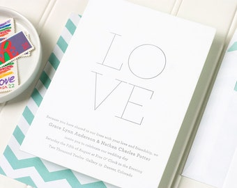 Letterpress Wedding Invitation - Simple Letterpress Wedding Invite - Minimal Chevron Letterpress Invitation - Minima - SAMPLE