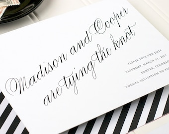 Black and White Save the Date, Old Hollywood Letterpress Save the Date, Stripes Letterpress, Foil Stamp, Flat Printing - Astaire - DEPOSIT