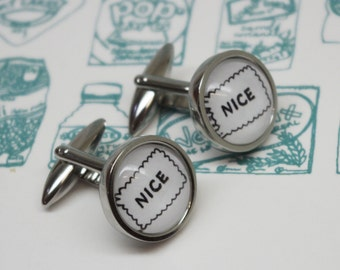 Biscuit Cufflinks - Nice biscuit cufflinks - Biscuit lover gifts - Gift for biscuit lover - Nice biscuit drawing