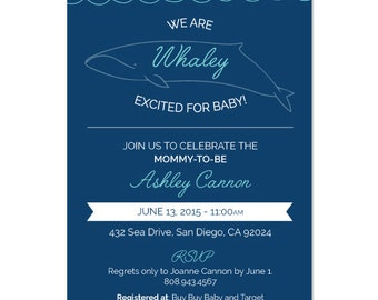 Baby shower invitation, whale baby shower, baby announcement, nautical baby shower, we are whaley excited, DIGITAL DOWNLOAD
