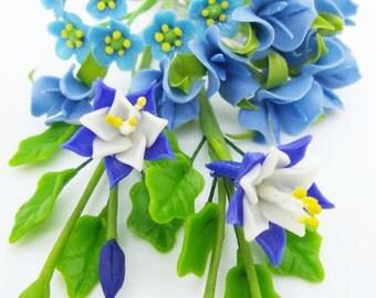 Miniature Polymer Clay Supplies Handmade Sweet Blue, set of 22 stems