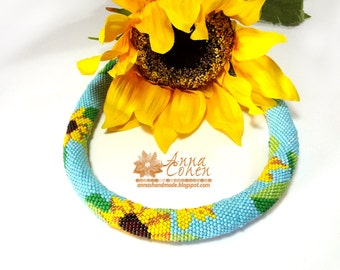 Sunflowers summer necklace FREE SHIPPING