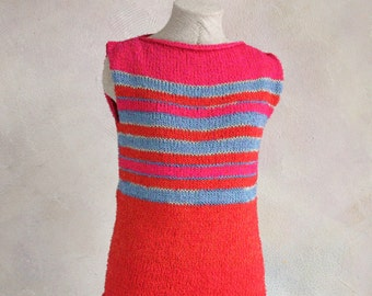 50% off sale Fuchsia Stripe- Terry T cotton tank top knit with easy to care for terrycloth yarn