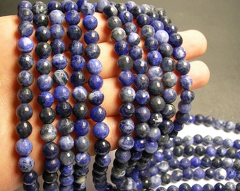 Sodalite - 8 mm faceted  round beads -1 full strand - 49 beads - RFG218