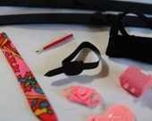 Vintage Barbie and Ken doll Accessories: Skis, Tie, Mirror, Pencil, and more