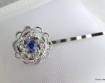 Bridal Hair Pin,Rhinestone Rose,Victorian Style,Something Blue Hair Pin,Bridal Rhinestone Hair Pin,Wedding Rhinestone Hair Pin,Blue,ROSELANI