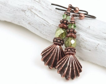 Antique Copper and Olive Green Sea Shell Earrings - Beaded Copper Jewerly Ocean Summer Seashell Jewelry Dangle Earrings