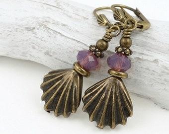 Custom Seashell Earrings with Rich Purple Opal Swarovski Crystals Antique Brass Sea Shell Jewelry Summer Ocean Sea Jewelry Beach Wedding