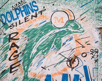 Miami Dolphins Abstract Paint Splatters T-Shirt, AMW Sports, Vintage 90s